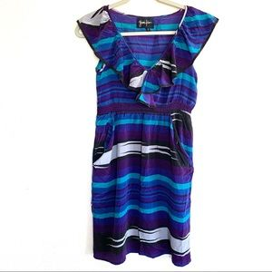 Yumi Kim 100% Silk Ruffle Striped Summer Dress